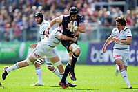 Luke Charteris of Bath Rugby takes on the Brive defence. European Rugby Challenge Cup Quarter Final, between Bath Rugby and CA Brive on April 1, 2017 at the Recreation Ground in Bath, England. Photo by: Patrick Khachfe / Onside Images
