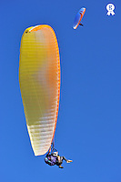 Paragliders flying in tandem (Licence this image exclusively with Getty: http://www.gettyimages.com/detail/95794852 )