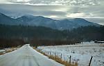 Looking towards Clifty and Black mountain in the Cabinet range near Bonners Ferry, Idaho