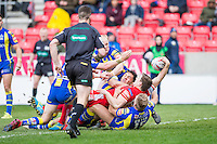 Picture by Allan McKenzie/SWpix.com - 04/03/2017 - Rugby League - Betfred Super League - Salford Red Devils v Warrington Wolves - AJ Bell Stadium, Salford, England - Salford's Kriss Brining manages over the try line to score against Warrington.