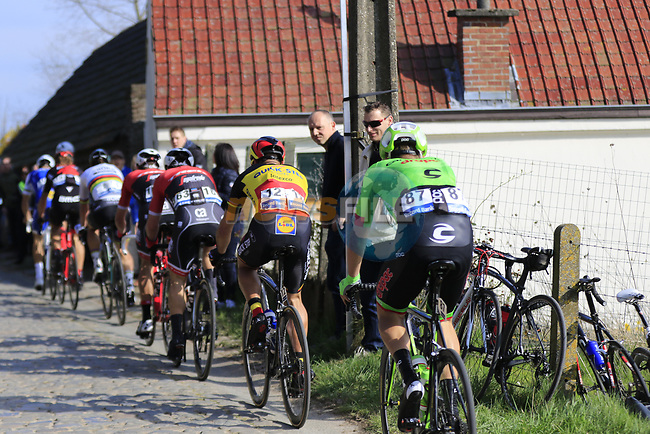 3rd group at the top of the Taaienberg 18% cobbled climb during the 60th edition of the Record Bank E3 Harelbeke 2017, Flanders, Belgium. 24th March 2017.<br /> Picture: Eoin Clarke | Cyclefile<br /> <br /> <br /> All photos usage must carry mandatory copyright credit (&copy; Cyclefile | Eoin Clarke)