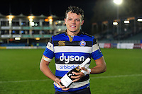 Zach Mercer of Bath Rugby poses for a photo after the match. Anglo-Welsh Cup match, between Bath Rugby and Leicester Tigers on November 4, 2016 at the Recreation Ground in Bath, England. Photo by: Patrick Khachfe / Onside Images