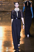 Bonnie Chen walks runway in an outfit from the Badgley Mischka Fall 2011 fashion show, during Mercedes-Benz Fashion Week Fall 2011.