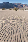 Death Valley National Park, California; ripples in the sand in the Mesquite Flat Sand Dunes in early morning sun and shadows, with the Panamint mountain range in the background