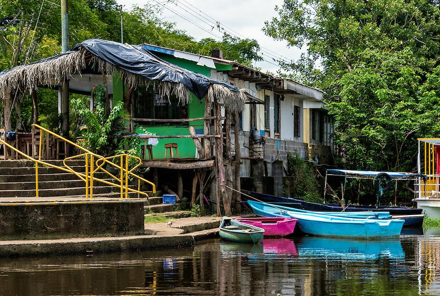 Boat dock in Frio River in the Caño Negro Wildlife Refuge in Costa Rica.