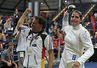 European Championships Fencing 2010 / Fecht Europameisterschaft 2010 in Leipzig - Competition Championat d'europe - im Bild: Imke Duplitzer ( GER , epee / Degen ) after winning her match in quarter final against Yana Shemyakina (UKR) . Foto: Norman Rembarz..Norman Rembarz , Autorennummer 41043728 , Augustenstr. 2, 04317 Leipzig, Tel.: 01794887569, Hypovereinsbank: BLZ: 86020086, KN: 357889472, St.Nr.: 231/261/06432 - Jegliche kommerzielle Nutzung ist honorar- und mehrwertsteuerpflichtig! Persönlichkeitsrechte sind zu wahren. Es wird keine Haftung übernommen bei Verletzung von Rechten Dritter. Autoren-Nennung gem. §13 UrhGes. wird verlangt. Weitergabe an Dritte nur nach  vorheriger Absprache..