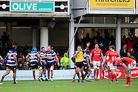 Bath Rugby players celebrate at the final whistle. Aviva Premiership match, between Bath Rugby and Saracens on December 3, 2016 at the Recreation Ground in Bath, England. Photo by: Patrick Khachfe / Onside Images