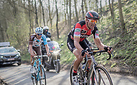 race leaders Greg Van Avermaet (BEL/BMC), Philippe Gilbert (BEL/Quick Step floors) &amp; Oliver Naesen (BEL/AG2R-LaMondiale) up the Karnemelkbeekstraat<br /> <br /> 60th E3 Harelbeke (1.UWT)<br /> 1day race: Harelbeke &rsaquo; Harelbeke - BEL (206km)