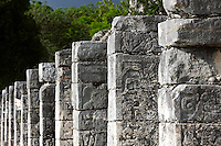Entrance to the outer Temple of the Warriors with hundreds of pillars, each of which represents a Quetzalcaan who has reached the highest levels of knowledge, Toltec architecture, 1100-1300 AD, Chichen Itza, Yucatan, Mexico. Picture by Manuel Cohen