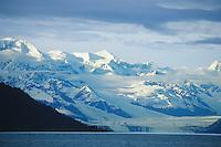 Harvard glacier and snow covered Chugach mountains, College Fjord Prince William Sound, Alaska.