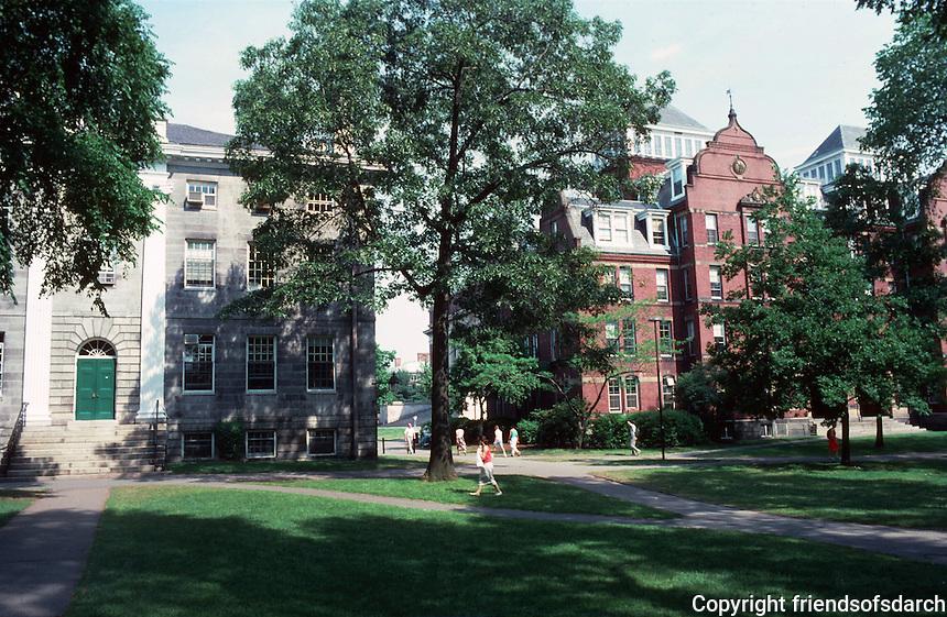 Cambridge:  Harvard Yard--looking east.  On left, Charles Bullfinch's University Hall, 1813-14. White Chelmsford granite, NRHP, 1970.  Colonial Revival, Federal style.  Photo '88.