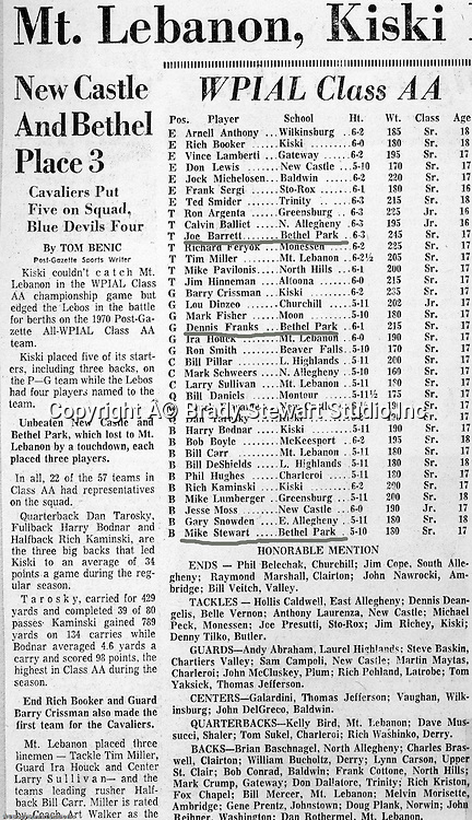 Pittsburgh PA:  All WPIAL Class AA All-Star Team - 1970.  Each year, the WPIAL selects an All-Star team of players from Western PA conferences.  I believe that over 3/4 of the players on this list went to Division I colleges and universities (20+).  All three players from Bethel Park went to division I schools.