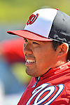 7 March 2013: Washington Nationals catcher Kurt Suzuki watches batting practice from the dugout during a Spring Training game against the Houston Astros at Osceola County Stadium in Kissimmee, Florida. The Astros defeated the Nationals 4-2 in Grapefruit League play. Mandatory Credit: Ed Wolfstein Photo *** RAW (NEF) Image File Available ***