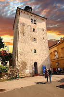 Thw 13th century medieval Lotr??ak Tower from where the Gri? cannon is fired daily at 12 noon, Zagreb, Croatia