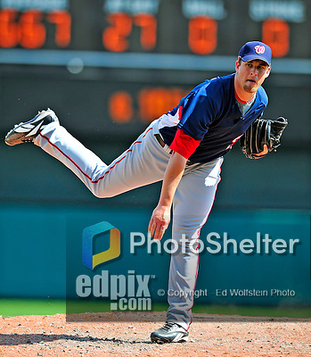 12 March 2009: Washington Nationals' pitcher Garrett Mock on the mound during a Spring Training game against the Atlanta Braves at Disney's Wide World of Sports in Orlando, Florida. The Braves defeated the Nationals 6-2 in the Grapefruit League matchup. Mandatory Photo Credit: Ed Wolfstein Photo