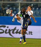 Jozy Altidore  (l, USA), during the friendly match Italy against USA at the Stadium Luigi Ferraris at Genoa Italy on february the 29th, 2012.