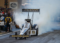 Jul 23, 2016; Morrison, CO, USA; NHRA top fuel driver Tony Schumacher during qualifying for the Mile High Nationals at Bandimere Speedway. Mandatory Credit: Mark J. Rebilas-USA TODAY Sports