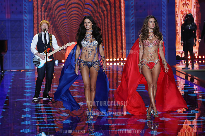 Adriana Lima, Alessandra Ambrosio, Ed Sheeran on the runway at the Victoria's Secret Fashion Show 2014 London held at Earl's Court, London. 02/12/2014 Picture by: James Smith / Featureflash