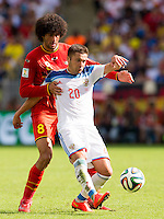 Viktor Fayzulin of Russia and Marouane Fellaini of Belgium