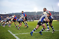 The Bath Rugby team warm up prior to the match. Aviva Premiership match, between Bath Rugby and Exeter Chiefs on December 31, 2016 at the Recreation Ground in Bath, England. Photo by: Patrick Khachfe / Onside Images