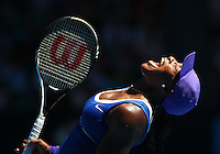 MELBOURNE, AUSTRALIA - JANUARY 23:  Serena Williams of the USA screams in frustration after loosing the first set and ultimately being defeated by Ekaterina Makarova of Russia during day 8 of The Australian Open of Tennis.  (Photo by Marianna Massey/Marianna Massey)
