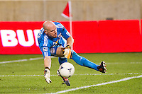 New York Red Bulls goalkeeper Bill Gaudette (88) makes a save. The New York Red Bulls  defeated the Portland Timbers 3-2 during a Major League Soccer (MLS) match at Red Bull Arena in Harrison, NJ, on August 19, 2012.