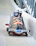 18 December 2010: Stefanie Szczurek crosses the finish line, finishing in 8th place for Germany at the Viessmann FIBT World Cup Bobsled Championships on Mount Van Hoevenberg in Lake Placid, New York, USA. Mandatory Credit: Ed Wolfstein Photo