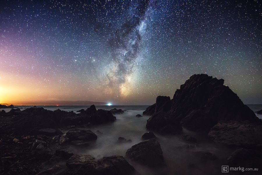 Perfectly clear conditions and a night out photographing on the south coast of Wellington, New Zealand. The Milky Way was rising to the east, and waves were flowing throughout the tidal pools during my long exposures, producing a soft misty feel that looked rather like ground fog.