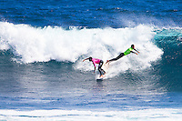 Margaret River, Western Australia.  (Tuesday, April 5, 2011). Adriano de Souza (BRA) and Hizunoma  Bettere (BRA). The Six Star Prime Telstra Drug Aware Pro continued  with the Round of 24 of the  Women's competition before commencing the Men's competition with eight heats of the Round of 96. The contest is the biggest surfing event ever held in Western Australia with 26 out of the Top 32 ranked surfers in the world competing.- Photo: joliphotos.com