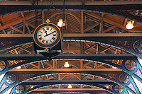 Struts supporting the metal and wood structure of the roof of the Smithfield or London Central Markets, 19th century, London, UK. Picture by Manuel Cohen