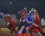 Lafayette High's Jeremy Liggins (1) makes a 44 yard touchdown pass to Lafayette High's Brandon Mack (4) in the first quarter vs. North Pontotoc at William L. Buford Stadium in Oxford, Miss. on Thursday, October 27, 2011. Lafayette High won 49-7...