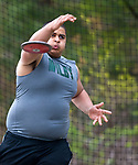 TORRINGTON, CT-051017JS06- Wilby's Lucas Pinentel competes in the discus during their meet with Torrington and Sacred Heart Wednesday at Torrington High School. <br /> Jim Shannon Republican-American