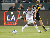 LA Galaxy defender Leonardo (22) looks to pass the ball during the first half of the game between LA Galaxy and the Columbus Crew at the Home Depot Center in Carson, CA, on September 11, 2010. LA Galaxy 3, Columbus Crew 1.