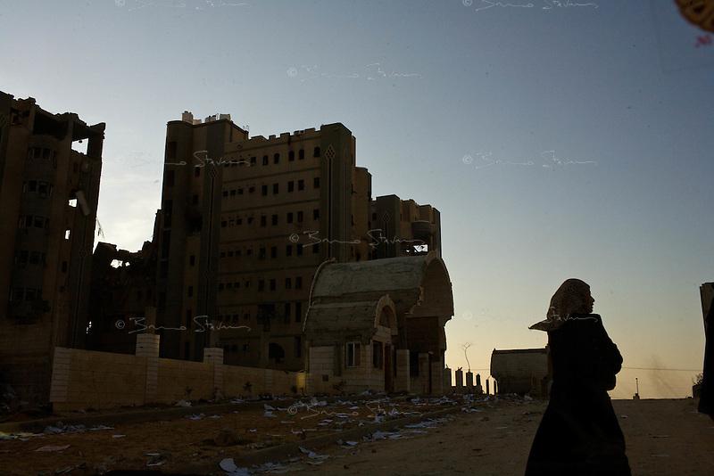 Gaza city, Jan 20 2009.Tell Al Houwwa, The Israeli army severely damaged the Palestinian Interior Ministry compound..