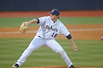 Ole Miss' Matt Denny (16) pitches vs. Memphis at Oxford-University Stadium in Oxford, Miss. on Tuesday, February 26, 2013. Memphis won 4-3. Ole Miss falls to 7-1.