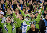 November, 2013: CenturyLink Field, Seattle, Washington:  Seattle Sounders FC fans as the Portland Timbers defeat  the Seattle Sounders FC 2-1 in the Major League Soccer Playoffs semifinals Round.