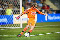 Philadelphia Union goalkeeper Zac MacMath (18). The Columbus Crew defeated the Philadelphia Union 2-1 during a Major League Soccer (MLS) match at PPL Park in Chester, PA, on August 29, 2012.