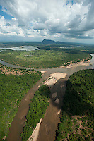 Aerial view over the Mahaweli river with Thoppigala mountain in the horizon,