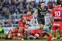 Eric Escande of Toulon passes the ball. European Rugby Champions Cup match, between RC Toulon and Bath Rugby on January 10, 2016 at the Stade Mayol in Toulon, France. Photo by: Patrick Khachfe / Onside Images
