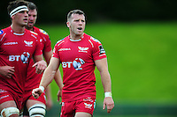 Gareth Davies of the Scarlets looks on. Pre-season friendly match, between the Scarlets and Bath Rugby on August 20, 2016 at Eirias Park in Colwyn Bay, Wales. Photo by: Patrick Khachfe / Onside Images