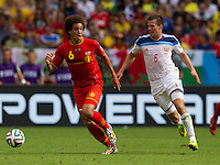 Axel Witsel of Belgium and Maksim Kanunnikov of Russia