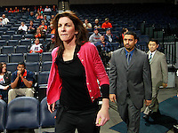 CHARLOTTESVILLE, VA- December 7: Head coach Joanne Boyle of the Virginia Cavaliers walks onto the court during the game against the Liberty Lady Flames on December 7, 2011 at the John Paul Jones arena in Charlottesville, Va. Virginia defeated Liberty 64-38. (Photo by Andrew Shurtleff/Getty Images) *** Local Caption *** Joanne Boyle