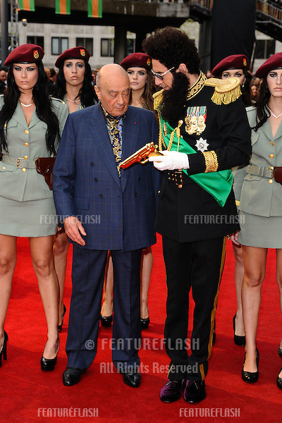 "Mohammed Al Fayed and Sasha Baron Cohen arriving for the premiere of ""The Dictator"" at the Royal Festival Hall, South Bank , London. 10/05/2012 Picture by: Steve Vas / Featureflash"