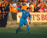 Brian Rowe (12) of the LA Galaxy throws the ball out during a third round match in the US Open Cup at WakeMed Soccer Park in Cary, NC.  The Carolina Railhawks defeated the LA Galaxy, 2-0.