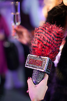 Moscow, Russia, 24/10/2009..A microphone encrusted with faux diamonds at the Millionaire Fair in Moscow. The event has become an annual fixture, attracting thousands of would-be and existing Russian millionaires to view and purchase a wide range of luxury goods. This year however the fair was much smaller, an indication of how the formerly booming Russian economy has been hit by the world financial crisis.