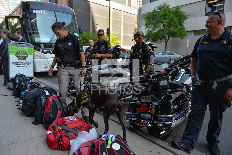 Dallas, TX - Friday March 31, 2017: Police prior to the NCAA National Semifinal Game between the women's basketball teams of Stanford and South Carolina at the American Airlines Center.