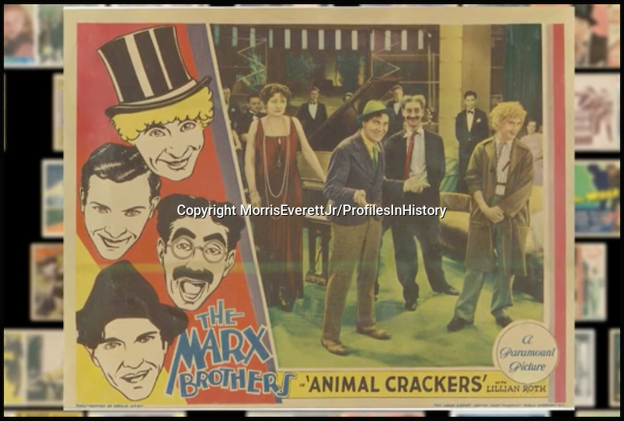 BNPS.co.uk (01202 558833)<br /> PIc: MorrisEverettJr/ProfilesInHistory/BNPS<br /> <br /> ***Please Use Full Byline***<br /> <br /> The Marx Brothers - Animal Crackers (1933). <br /> <br /> The world's largest collection of movie posters boasting artwork from almost every single film made in the last century has emerged for sale for &pound;5 million.<br /> <br /> The colossal archive features 196,000 posters from more than 44,000 films, and has been singlehandedly pieced together by one avid collector over the last 50 years.<br /> <br /> Morris Everett Jr has dedicated his life's work to seeking out original posters from every English-speaking film ever made and compiling them into a comprehensive library.<br /> <br /> The sale is tipped to make $8 million - around &pound;5 million pounds - when it goes under the hammer in one lot at Califonia saleroom Profiles in History on December 17.