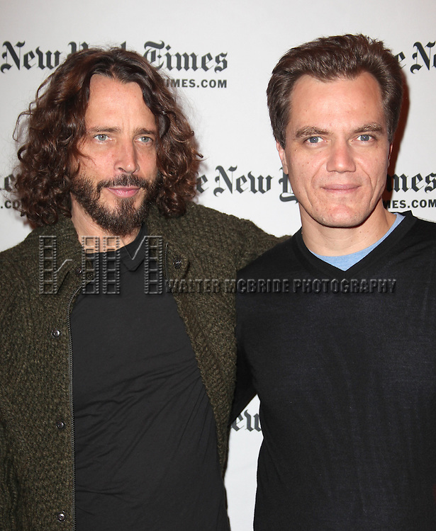 Chris Cornell meeting Michael Shannon backstage at the New York Times 11th Annual Arts & Leisure Weekend at Times Center in New York City. 1/7/2012