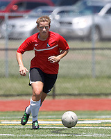 Aztec MA midfielder Caroline Dixon (14) brings the ball forward. In a Women's Premier Soccer League (WPSL) match, Aztec MA defeated CFC Passion, 4-0, at North Reading High School Stadium on July 1, 2012.