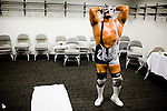 Lucha Libre AAA wrestler Silver King prepares backstage before a match in San Jose, CA March 29, 2009.